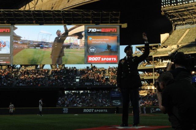 ) Spc. Dazarian Williams, I Corp's Soldier of the year, receives recognition and applause during a Mariner's game at Safeco Field June 23, 2017. Williams will be attending Ranger School later this year. (U.S. Army photo by Pvt. Ethan Valetski)