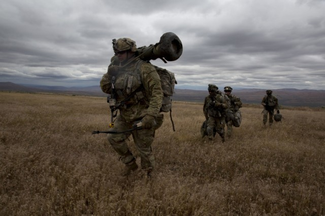 Soldiers of 2-2 Stryker Brigade Combat Team maneuver during Exercise Bayonet Focus 17-03 at Yakima Training Center, Washington, June 15. BF 17-03 trained and prepared more than 6,000 Soldiers for the rigors of combat.