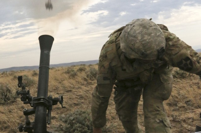 A Soldier with 2-2 Stryker Brigade Combat Team fire an 81mm mortar during Exercise Bayonet Focus 17-03 at Yakima Training Center, Washington, June 26. BF 17-03 trained and prepared more than 6, 000 Soldiers for the rigors of combat.