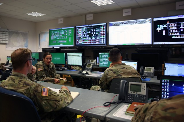 U.S. Army 1st Lt. Marina Northup, a plans officer assigned to the 44th Expeditionary Signal Battalion, 2nd Theater Signal Brigade, speaks during a Saber Guardian 17 daily communications update briefing June 26, 2017 at Lightning Ops, the Theater Network Operations Center at the Mihail Kogalniceanu Air Base, Romania. Exercise Saber Guardian 17, a U.S. Army Europe-led, multinational exercise, will take place in Bulgaria, Hungary, and Romania July 11 - 20, 2017.