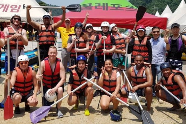 On June 17, the Brian Allgood Army Community Hospital Chaplain's office led a Warrior Adventure Quest whitewater rating event at the X-Game Resort in Inje, Kangwondo for 14 Soldiers. The event was designed order to build resilience, mitigate high risk behaviors and develop team cohesion.