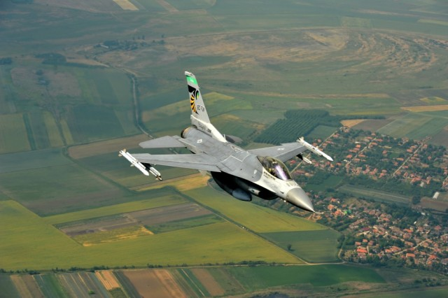 Lt. Col. Brian Moran, an F-16 Fighting Falcon pilot assigned to the 180th Fighter Wing, Ohio Air National Guard, flies over the skies of Hungary, June 6, 2017. More than 400 military members from six countries participated in exercise Load Diffuser 17 at the Hungarian Air Base from May 22 to June 9, 2017. Load Diffuser is a Hungarian Air Force-led, multinational flying exercise between NATO allies and partner nations. Multinational training engagements such as these strengthen our relationships, help us maintain joint readiness and interoperability, and reassure our European allies and partners. The U.S. and Hungary, as NATO allies, share a commitment to promote peace and stability, and seek opportunities to continue developing their relationship. The U.S. and Europe must preserve our mutual commitment and trust as we face emerging malignant forces and evolving strategic assets.