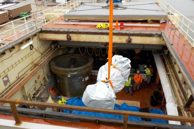 In October 2015, the first low-level radiological waste was removed from the STURGIS as part the ongoing decommissioning of reactor aboard the Army's retired floating nuclear power plant in Galveston, Texas. This removal of the spent fuel rod transfer cask and the spent control rod transfer cask was significant milestone in the STURGIS decommissioning effort as it marked the beginning of the Corps of Engineers' radiological decommissioning.
