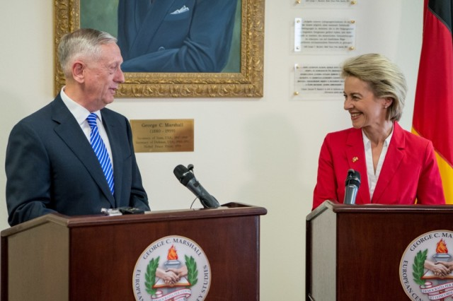 Secretary of Defense Jim Mattis and Ursula von der Leyen, Germany's defence minister, speak with the press at the George C. Marshall European Center for Security Studies in Garmisch, Germany, June 28, 2017.