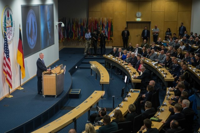 Secretary of Defense Jim Mattis discusses the partnership between the U.S. and Germany during an event at the George C. Marshall European Center for Security Studies in Garmisch, Germany, June 28, 2017.