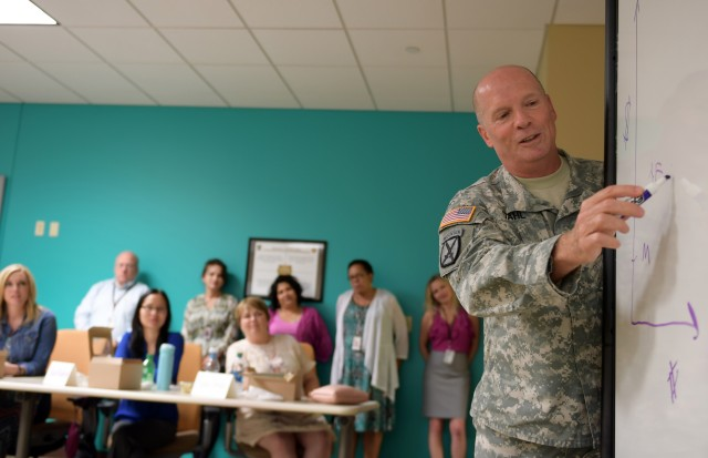 Lt. Gen. Kenneth Dahl illustrates IMCOM cost-savings efficiencies