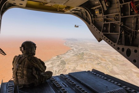A U.S. Army Reserve CH-47 Chinook helicopter pilot deployed with Task Force Warhawk, 16th Combat Aviation Brigade, 7th Infantry Division, scans over the Registan Desert in Helmand Province, Afghanistan, June 21, 2017. The Warhawks provide aviation support to U.S. Forces Afghanistan as part of Operation Freedom's Sentinel.