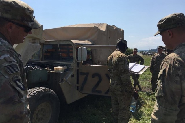"Soldiers of 64th Brigade Support Battalion, 3rd Armored Brigade Combat Team, 4th Infantry Division, run through a ""Command Maintenance Day"" focused on vehicle services while preparing for the U.S. Army Europe-led Getica Saber 17 multinational exercise at the Cincu Joint Multinational Training Center in Cincu, Romania, June 24, 2017. Getica Saber is a U.S.-led fire coordination exercise and combined-arms live fire exercise being held from July 8-15 to highlight participant deterrence capabilities, specifically the ability to mass forces at any given time anywhere in Europe. Besides the 3rd ABCT, 4th Inf. Div., Getica Saber will feature the Romanian 282nd Mechanized Brigade, the U.S. 1st Cavalry Division Artillery and service members from Croatia, Ukraine, Portugal, Montenegro and Armenia. (U.S. Army photo by Capt. Sean Ryan, 3rd Armored Brigade Combat Team, 4th Infantry Division)"