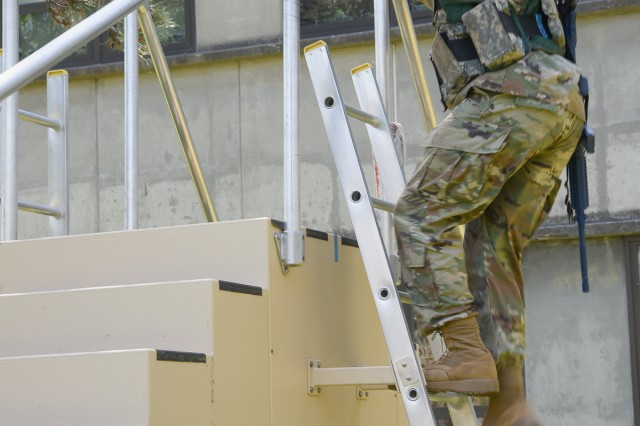 To study the effects of bulk on Soldier performance, Natick researchers are using the Load Effects Assessment Program (Army), or LEAP-A, tool. Consisting of a series of obstacles and mission-relevant activities, LEAP-A provides a reliable method to measure the impact of clothing and individual equipment, or CIE, on Soldier performance. Here a Soldier climbs a ladder as part of the assessment.