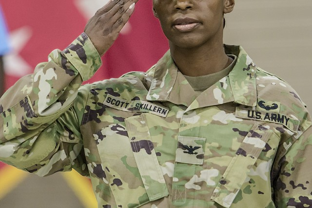 Col. Carmelia Scott-Skillern, commander, 401st Army Field Support Brigade, renders a salute during a change of command ceremony for the 401st AFSB at Camp Arifjan, Kuwait, June 30. (U.S. Army Photo by Justin Graff, 401st AFSB Public Affairs)