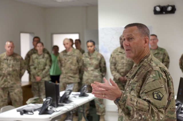 Brig. Gen. Steven Ainsworth, 7th Mission Support Command commanding general and 21st Theater Sustainment Command deputy commanding general, addresses Soldiers in the command post, Monday July 3, 2017, at Novo Selo Training Area during a promotion ceremony for Col. Timothy Sumovich and Staff Sgt. Mark Medina. The 7th MSC recently set up the command post in support of Saber Guardian 17. (U.S. Army Photo by Sgt. 1st Class John Freese)