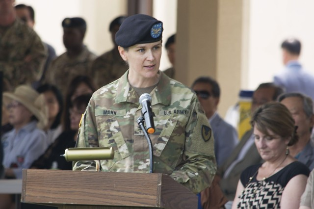Col. Renee Mann, incoming commander, 403rd Army Field Support Brigade, speaks during the 403rd's change of command and responsibility ceremony June 28 at Camp Walker in Daegu, Republic of Korea. (Photo by Capt. Lonnie Collier, ASC Public Affairs)