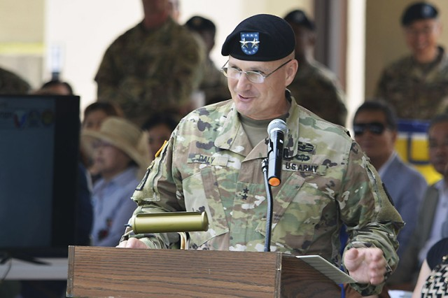 Maj. Gen. Edward M. Daly, Rock Island Arsenal senior commander and commanding general U.S. Army Sustainment Command, speaks during the 403rd's change of command and responsibility ceremony June 28 at Camp Walker in Daegu, Republic of Korea.