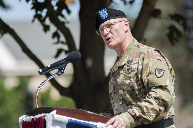 Maj. Gen. Edward Daly, senior commander of Rock Island Arsenal and commanding general of the U.S. Army Sustainment Command, speaks during the Distribution Management Center relinquishment of command ceremony on June 9 in Constitution Square, Rock Island Arsenal, Illinois.