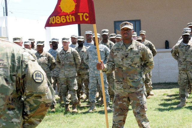 """FORT HOOD, TX -- 1086 Transportation Company, 165th Combat Sustainment Support Battalion, 139th Regional Support Group forms up for an awards ceremony on Fort Hood, Texas 29 June 2017. The """"Spartans"""" are from Bunkie, Louisiana and going overseas in support of a Spartan mission. (Army photo by Staff Sgt. Courtney Smith, 120th Infantry Brigade Public Affairs)"""