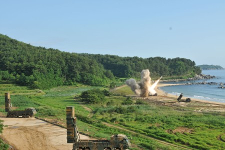 An M270 Multiple Launch Rocket System fires an MGM-140 Army Tactical Missile into the East Sea, July 5. The missile launch demonstrated the combined deep strike capabilities which allow the Republic of Korea-U.S. alliance to neutralize hostile threats and aggression against the ROK, U.S. and our allies.
