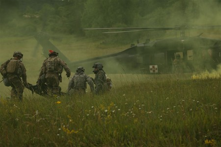 U.S Soldiers of the 82nd Airborne Brigade medically evacuated a simulated casualty while conducting a freedom of maneuver detachment during a Kosovo Force mission rehearsal exercise at the Joint Multinational Readiness Center in Hohenfels, Germany, July 1, 2017. The KFOR MRE 23 is designed to prepare the 39th Infantry Brigade Combat Team for their deployment to Kosovo in support of civil authorities to maintain a safe and secure environment. KFOR MRE 23 hosts 900 soldiers from 10 nations. The exercise runs from June 19 through July 11 in Hohenfels, Germany.