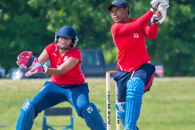 Sgt. Claudine Beckford, Co. D, 2-10th Infantry Battalion, bats during the ICC USA Women's Cricket Team selections June 9 in Indianapolis, Indiana. Beckford was one of 14 players selected for the team, which will compete in the ICC Europe T20 Qualifier tournament in August.