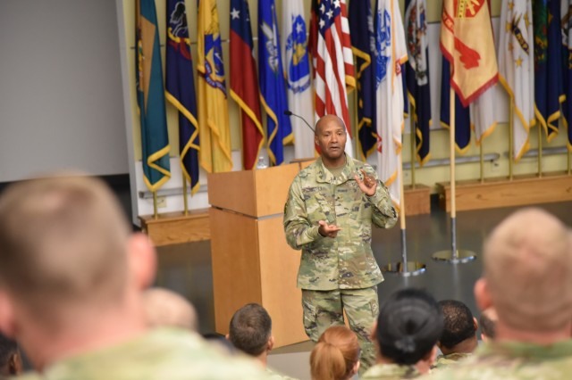 Brig. Gen. Michael J. Talley, command surgeon of the U.S. Army Forces Command, provides a State of the Corps message to attendees of the Fort Detrick's Medical Service Corps 100th birthday celebration.