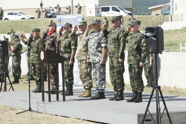 Leadership from participating nations render honors for the host nations' national anthems during the opening ceremony for exercise Saber Guardian 17 at Novo Selo Training Area, Bulgaria, July 11, 2017.Saber Guardian is a U.S. Army Europe-led, multinational exercise that spans across Bulgaria, Hungary, and Romania with more than 25,000 service members from 22 allied and partner nations.