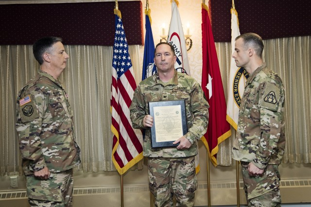 On 28 June 2017, PM AESIP COL Harry Culclasure (center) hosted the LMP Change of Charter at Picatinny Arsenal, NJ where LTC Michael N. Parent (right) assumed the LMP Charter from LTC Robert M. Williams (left).