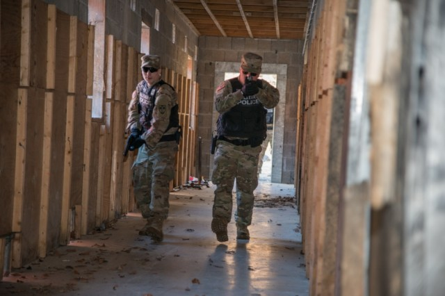 U.S. Soldiers with the 554th Military Police Company, 709th Military Police Battalion, 18th Military Police Brigade participate in active shooter training in the Boeblingen Local Training Area, Boeblingen, Germany, in December 2016. TRADOC is planning to release a new mobile app that will aid Soldier training, readiness, and response to emergency situations like an active shooter incident.