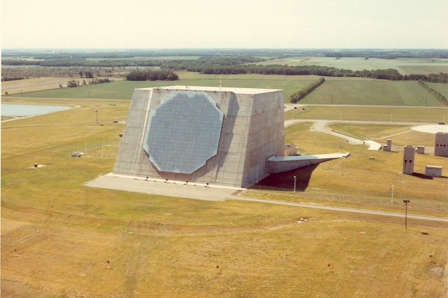 The Perimeter Acquisition Radar, A five-story building with one acre of floor slab and a volume of nearly a cubic acre, is 128 feet high, 198 feet wide and 208 feet long. The antenna, 113 feet in diameter, is mounted on the front wall of the building and contains 6192 antenna elements, of which 6,144 are active. Besides the sensor equipment, the PAR building contains the PAR data processor, command and control equipment, and support equipment for cooling and power distribution.