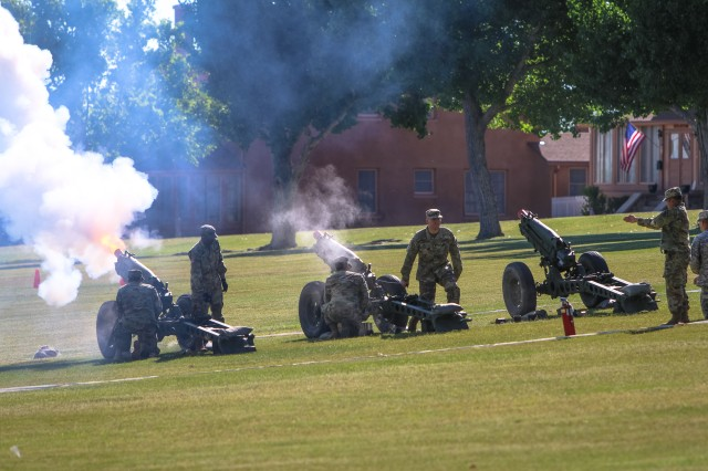 Fort Huachuca Select Honor Guard Salute Battery provides artillery fire as part of the salute during the change of command ceremony June 28 on Brown Parade Field.  (Photo Credit: Fort Huachuca Public Affairs Lara Poirrier)