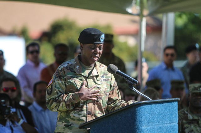 Col. Wendy Rivers, outgoing commander, Information Systems Engineering Command, gives her farewell speech at the change of command ceremony June 28 on Brown Parade Field. (Photo Credit: Fort Huachuca Public Affairs Lara Poirrier)