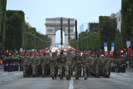 PARIS (July 12, 2017) Almost 200 U.S. Soldiers, Sailors, Marines and Airmen assigned to units in Europe and the 1st Infantry Division, Fort Riley, Kansas, march from the Arc de Triomphe to the Place de la Concorde during a rehearsal for the Military Parade on Bastille Day to be held July 14, 2017. This year, the U.S. will lead the parade as the country of honor in commemoration of the centennial of U.S. entry into World War I -- as well as the long-standing partnership between France and the U.S.