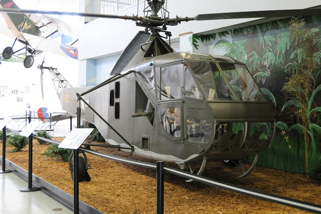 The Sikorsky R-4 sits in the U.S. Army Aviation Museum and was the first production helicopter and paved the way for modern-day rotor-wing Aviation.
