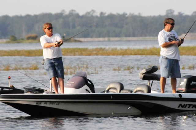 Anglers compete in a previous fishing tournament.