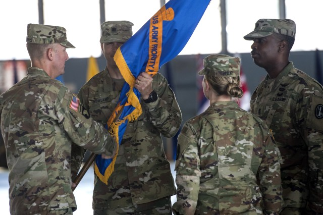 Lt. Col. Matthew L. Rowland and Lt. Col. Heather L. Maki inspect the troops, July 14, 2017, during U.S. Army Priority Air Transport Command's (USAPAT) change of command/responsibility ceremony at Joint Base Andrews, Md.