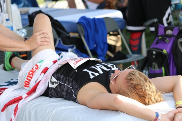 U.S. Army veteran Megan Grudzinski, Strongsville, Ohio receives massage therapy between events July 2, at Lane Tech College Prep High School, Chicago, Illinois, during the 2017 Department of Defense Warrior Games. The DoD Warrior Games is an adaptive sports competition for wounded, ill and injured service members and veterans. Approximately 265 athletes representing teams from the Army, Marine Corps, Navy, Air Force, Special Operations Command, United Kingdom Armed Forces, and the Australian Defence Force will compete June 30 -- July 8 in archery, cycling, track, field, shooting, sitting volleyball, swimming, and wheelchair basketball.