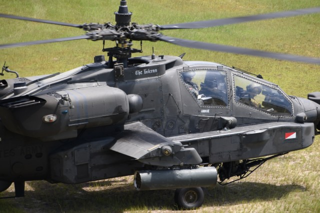AH-64D Apache pilots with the South Carolina National Guard, 1-151st Attack Reconnaissance Battalion, partnered with members of the 3rd Combat Aviation Brigade, 3/17th Heavy Attack Reconnaissance Squadron, and Pennsylvania National Guard Soldiers with C Company to conduct advanced-level gunnery training during annual training July 2017 at Fort Stewart, Georgia, in preparation for mobilization. The advanced training consisted of daytime and nighttime team qualification that allowed for the Air Mission Commander to make more decisions on how to engage target in order to develop communication and decision-making skills.