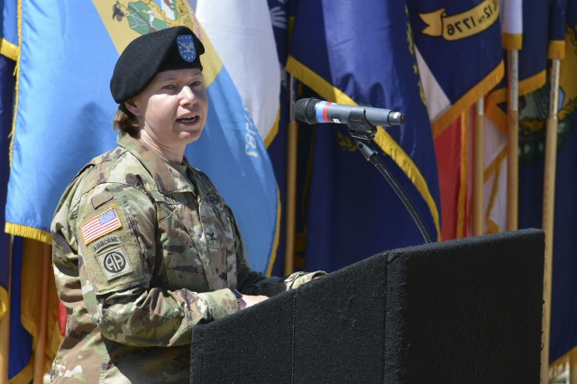 Col. Sydney Smith, outgoing commander, addresses the audience during the Change of Command and Relinquishment of Responsibility Ceremony for the 404th Army Field Support Brigade on July 19 at Joint Base Lewis-McChord in Tacoma, Washington.