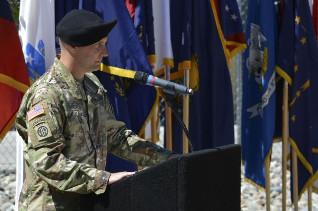 Col. Peter Crandall, incoming commander of 404th Army Field Support Brigade, addresses the audience during the Change of Command and Relinquishment of Responsibility Ceremony July 19 at Joint Base Lewis-McChord in Tacoma, Washington.