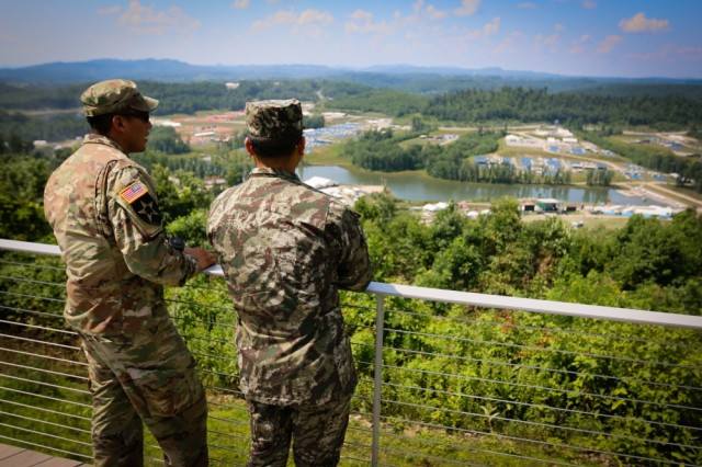 Members the West Virginia National Guard stand next to each other at a State Partnership Program training opportunity during the 2017 National Jamboree at the Summit Bechtel Reserve near Glen Jean, W.Va., July 18, 2017.