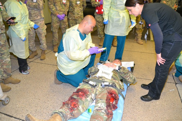 Upon arrival at Landstuhl Regional Medical Center, exercise casualties were triaged and sent to appropriate hospital wards for treatment.