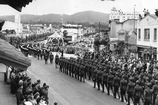 1946 Fourth of July Parade in Monterey that was described as the biggest local parade ever. Fort Ord troops from ships anchored in the bay attended the parade and the centennial flag raising. (Photo from the Monterey County Herald Archives)