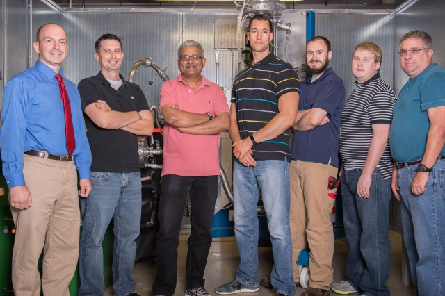 A team of scientists and engineers from the U.S. Army Research Laboratory (from left to right) Scott Grendahl, Dr. Kris Darling, Dr. Anit Giri, Dr. Sean Fudger, Joe Marsico, Dr. Chad Hornbuckle, and Tom Luckenbaugh, pose in their lab where they work on nanomaterials.