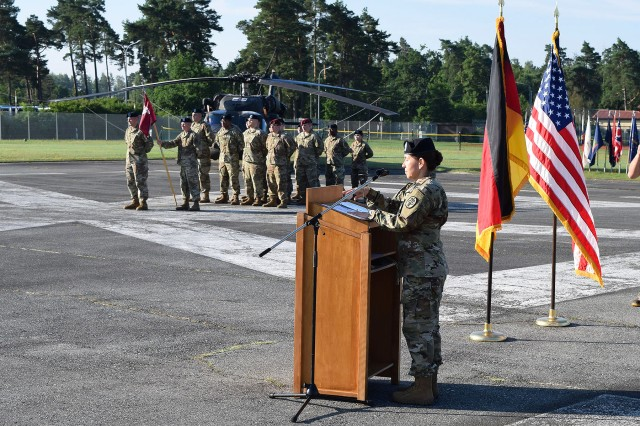 "GRAFENWOEHR, Germany -- Colonel Andrew Powell, Commander of the U.S. Army Medical Department Activity Bavaria presided over the Grafenwoehr Health Clinic Change of Command ceremony Friday, 21 July on Tower Barracks. During the ceremony Lt. Col. Shannon Shaw relinquished command to Lt. Col. Rose Smyth (pictured, right). In his remarks Powell was unstinting with his praise of Shaw's many accomplishments and leadership and said Smyth was ""The right candidate to succeed Shaw and to lead the Grafenwoehr clinic into the future"". To learn more about the people and facilities of the U.S. Army Medical Department Activity Bavaria (MEDDAC Bavaria) and the clinics they support in Ansbach, Grafenwoehr, Hohenfels, Stuttgart and Vilseck visit the MEDDAC Bavaria website at http://rhce.amedd.army.mil/bavaria"