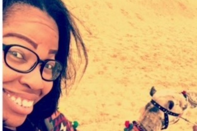 Sharla Moore snaps a selfie before taking her first camel ride.