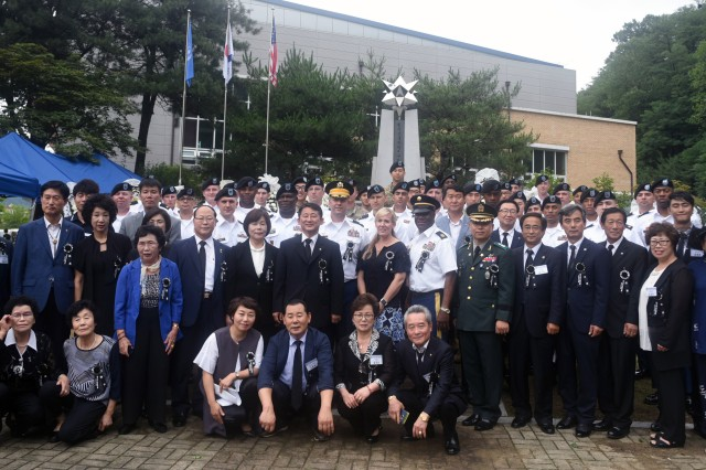 Cheonan residents and members of the Korea Freedom Federation joined 36 American and KATUSA Soldiers from Camp Humphreys to honor the fallen during the annual Battle of Cheonan Commemoration at Martin Park here July 8.