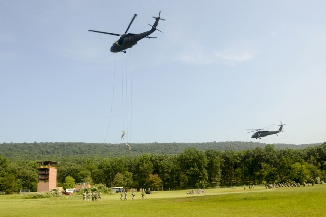 Soldiers with Fort Indiantown Gap's inaugural Air Assault course rappel from a UH-60 Black Hawk helicopter operated by pilots from the Eastern Army National Guard Aviation Training Site July 20, 2017. The 10-day course designed to prepare Soldiers for insertion, evacuation, and pathfinder missions that require the use of multipurpose transportation and assault helicopters. Fort Indiantown Gap is one of only seven training sites to offer Air Assault School.