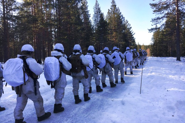 Norwegian Soldiers march through a snow-laden path in Terningmoen, a training base for the Norwegian royal guard in Elverum, Norway, during a four-day collaborative field study between the Norwegian Defence Material Agency, the U.S. Army Research Institute of Environmental Medicine, or USARIEM, and the Natick Soldier Research, Development and Engineering Center, or NSRDEC. During cold weather training like this, it's common for Soldiers to experience negative energy balance when they cannot easily replace the calories they burn during rigorous physical activity, making it especially important for the Norwegian and U.S. researchers to work together to tackle this prevalent, yet complex, problem in field feeding.