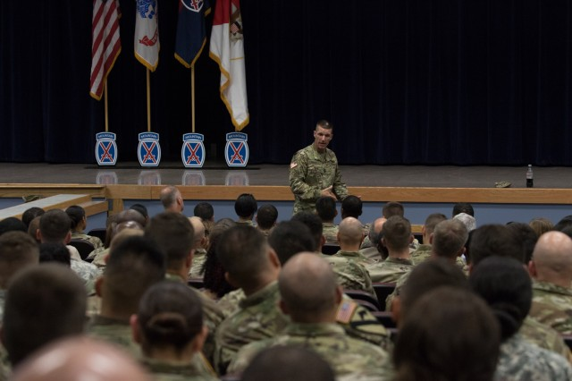 Sergeant Major of the Army Daniel Dailey, conducts a town hall meeting, July 19, 2017, at the Multipurpose Auditorium at Fort Drum, N.Y. Dailey talked with Soldiers about future goals of the Army and addressed their concerns.