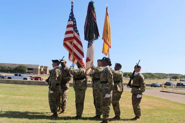 Members of the color guard prepared to begin a colors casing ceremony for the 418th Contracting Support Brigade July 19 at Fort Hood, Texas. The brigade prepares to deploy to Afghanistan this week in support of Operation Freedom's Sentinel.