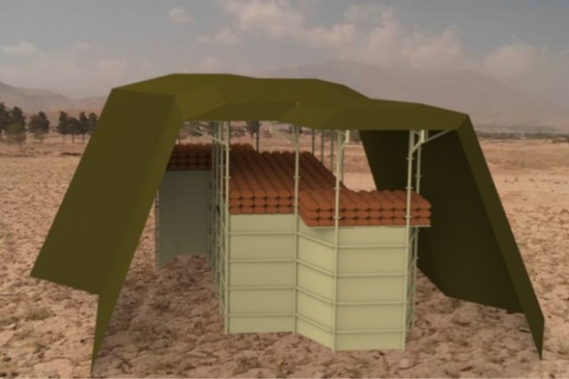 Researchers at the Natick Soldier Research, Development and Engineering Center, or NSRDEC, are developing the Expeditionary Bunker System, which is being designed to provide Soldiers with effective ballistic protection from direct and indirect fire. The system features a modular set up in four sections, including a two-panel armor system. The bunker is designed to be deployed in under an hour by a team of four people.