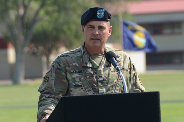 Maj. Gen. John W. Charlton provides comments during the Dugway change of command ceremony, July 12, 2017. Photo by Bonnie Robinson, Dugway Proving Ground Public Affairs.